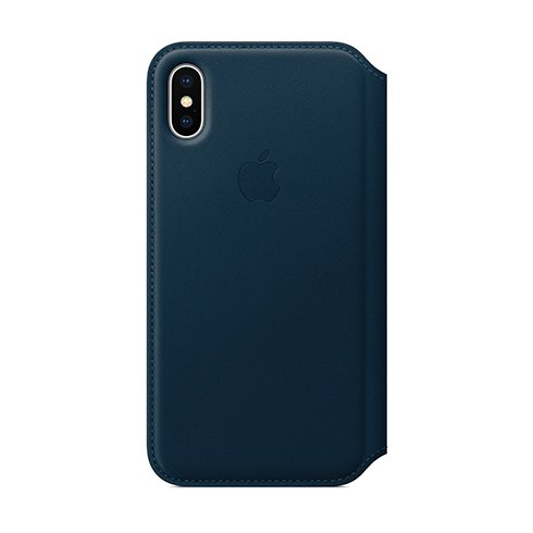 Apple iPhone X Leather Folio - Cosmos Blue