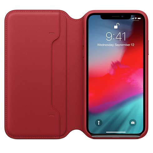 Apple kožené pouzdro Folio na iPhone Xs - (PRODUCT)RED