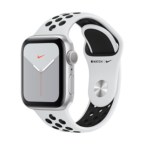 Apple Watch Nike Series 5 GPS, 40mm Silver Aluminium Case with Pure Platinum/Black Nike Sport Band