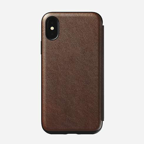 Nomad Folio Leather case, brown - iPhone XS/X