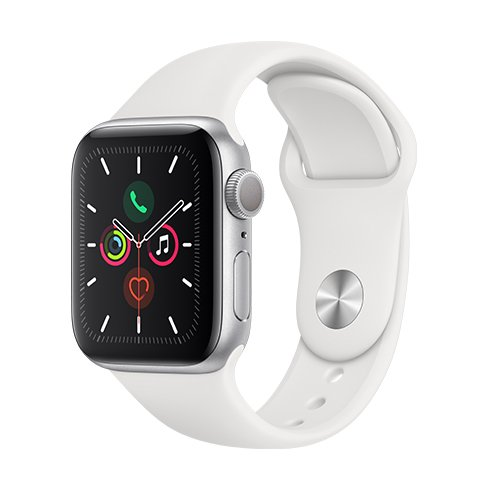 ROZABELNO Apple Watch Series 5 GPS, 40mm Silver Aluminium Case with White Sport Band