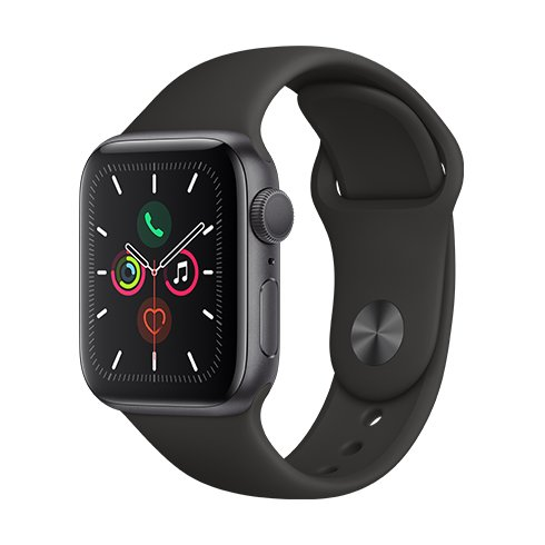 ROZBALENO Apple Watch Series 5 GPS, 40mm Space Grey Aluminium Case with Black Sport Band