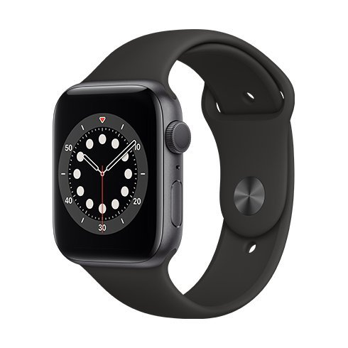 ROZBALENO Apple Watch Series 6 GPS, 44mm Space Gray Aluminium Case with Black Sport Band - Regular